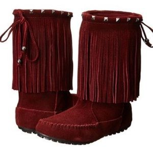 NEW Minnetonka 5 Leather Studded Fringe Boots Red
